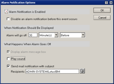 Alarm Notification Options