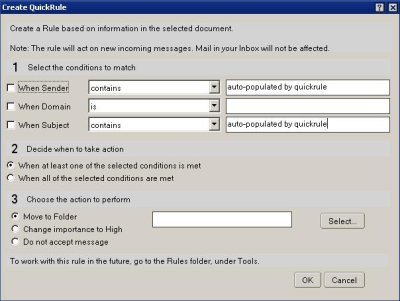 Create QuickRule dialog box